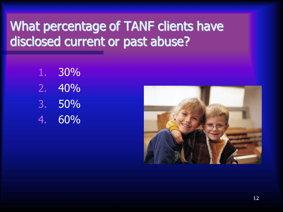 12 What percentage of TANF clients have disclosed current or past abuse? 1. 30% 2. 40% 3. 50% 4. 60%