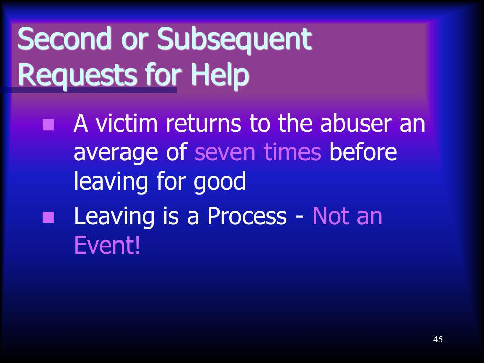 45 Second or Subsequent Requests for Help A victim returns to the abuser an average of seven times before leaving for good Leaving is a Process - Not an Event!