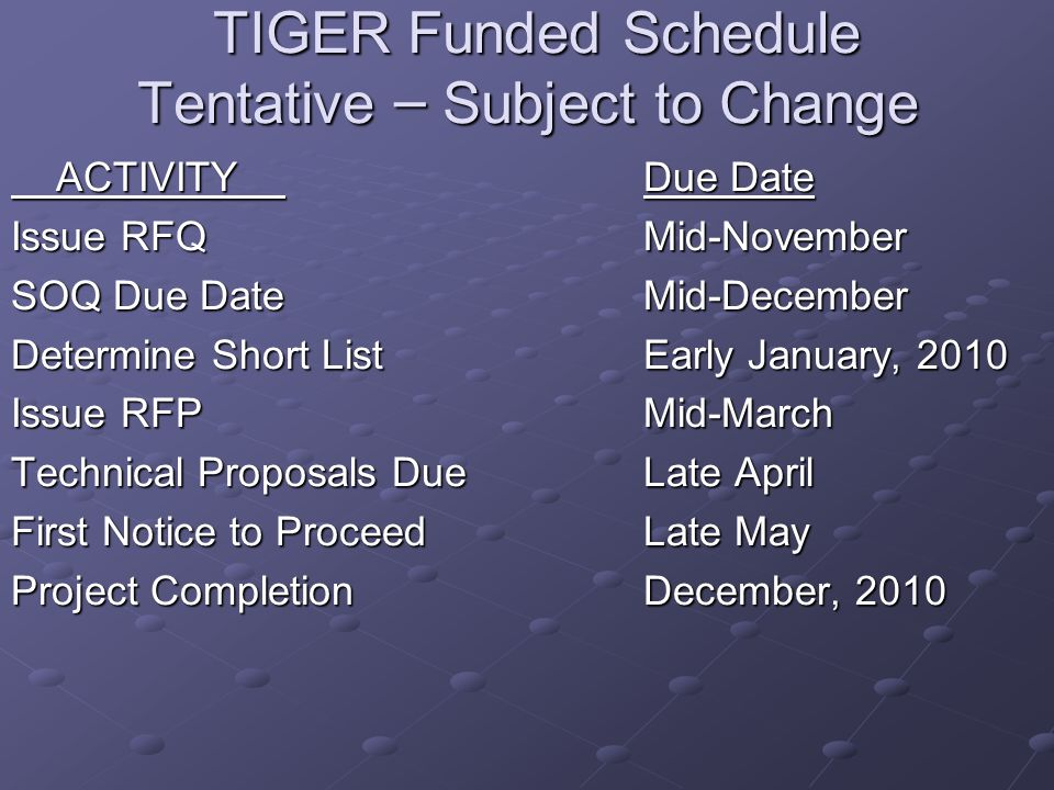 TIGER Funded Schedule Tentative – Subject to Change TIGER Funded Schedule Tentative – Subject to Change ACTIVITY Due Date ACTIVITY Due Date Issue RFQ Mid-November SOQ Due Date Mid-December Determine Short List Early January, 2010 Issue RFP Mid-March Technical Proposals Due Late April First Notice to ProceedLate May Project CompletionDecember, 2010