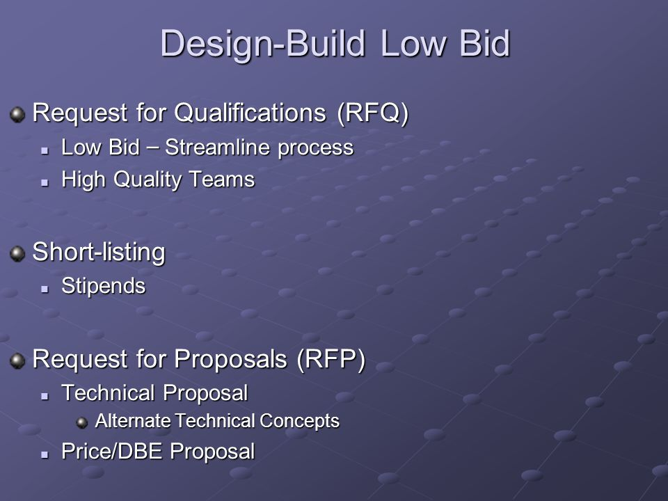 Design-Build Low Bid Request for Qualifications (RFQ) Low Bid – Streamline process Low Bid – Streamline process High Quality Teams High Quality TeamsShort-listing Stipends Stipends Request for Proposals (RFP) Technical Proposal Technical Proposal Alternate Technical Concepts Alternate Technical Concepts Price/DBE Proposal Price/DBE Proposal