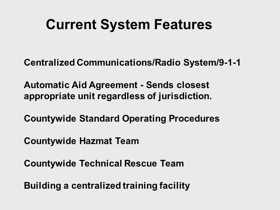 Current System Features Centralized Communications/Radio System/9-1-1 Automatic Aid Agreement - Sends closest appropriate unit regardless of jurisdict
