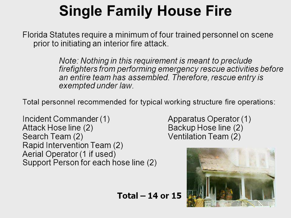 Single Family House Fire Florida Statutes require a minimum of four trained personnel on scene prior to initiating an interior fire attack.