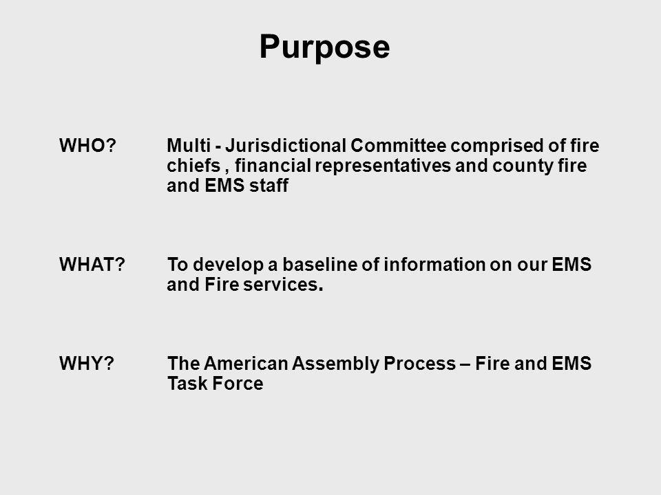 WHO Multi - Jurisdictional Committee comprised of fire chiefs, financial representatives and county fire and EMS staff WHAT To develop a baseline of information on our EMS and Fire services.