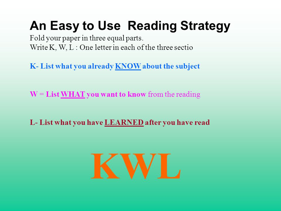 An Easy to Use Reading Strategy Fold your paper in three equal parts. Write K, W, L : One letter in each of the three sectio K- List what you already