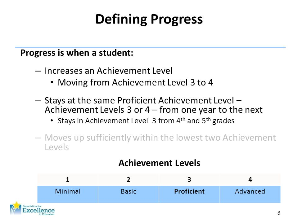8 Defining Progress Progress is when a student: – Increases an Achievement Level Moving from Achievement Level 3 to 4 – Stays at the same Proficient A