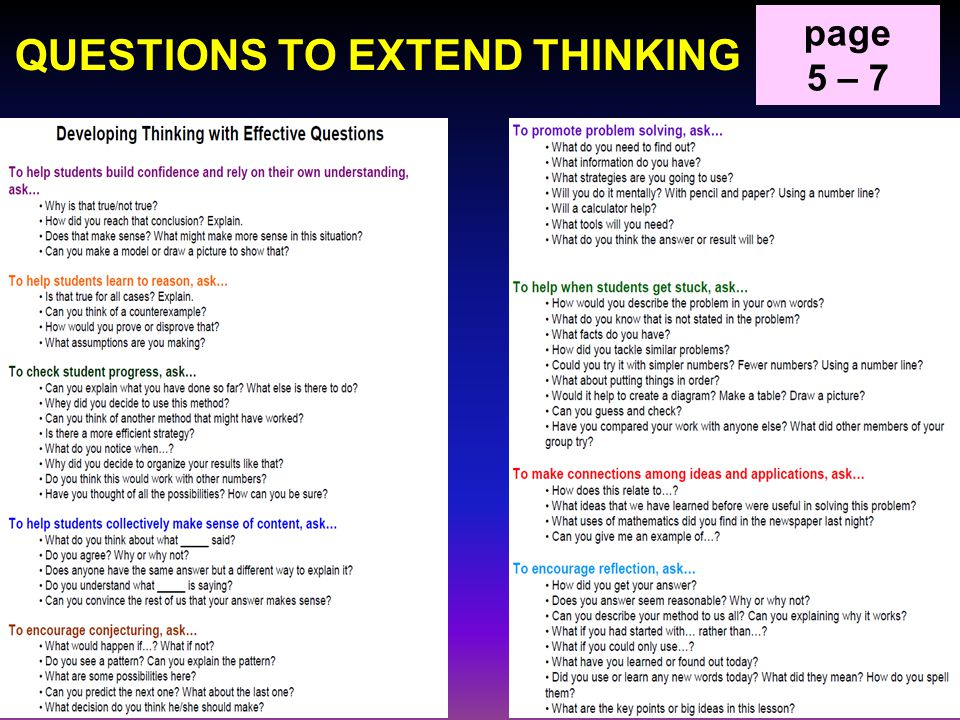 QUESTIONS TO EXTEND THINKING page 5 – 7