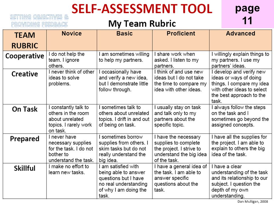Self-Assessment Tool page 11