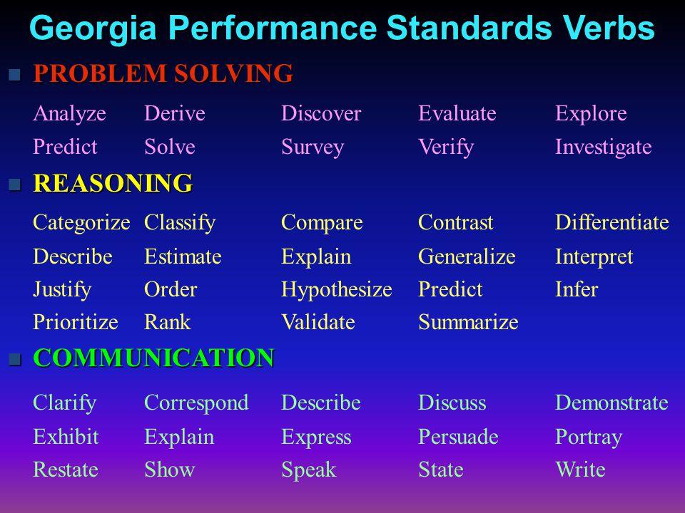 Georgia Performance Standards Verbs PROBLEM SOLVING PROBLEM SOLVING AnalyzeDeriveDiscoverEvaluateExplore PredictSolveSurveyVerifyInvestigate REASONING REASONING CategorizeClassifyCompareContrastDifferentiate DescribeEstimateExplainGeneralizeInterpret JustifyOrderHypothesizePredictInfer PrioritizeRankValidateSummarize COMMUNICATION COMMUNICATION ClarifyCorrespondDescribeDiscussDemonstrate ExhibitExplainExpressPersuadePortray RestateShowSpeakStateWrite