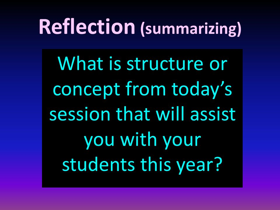 Reflection (summarizing) What is structure or concept from today's session that will assist you with your students this year