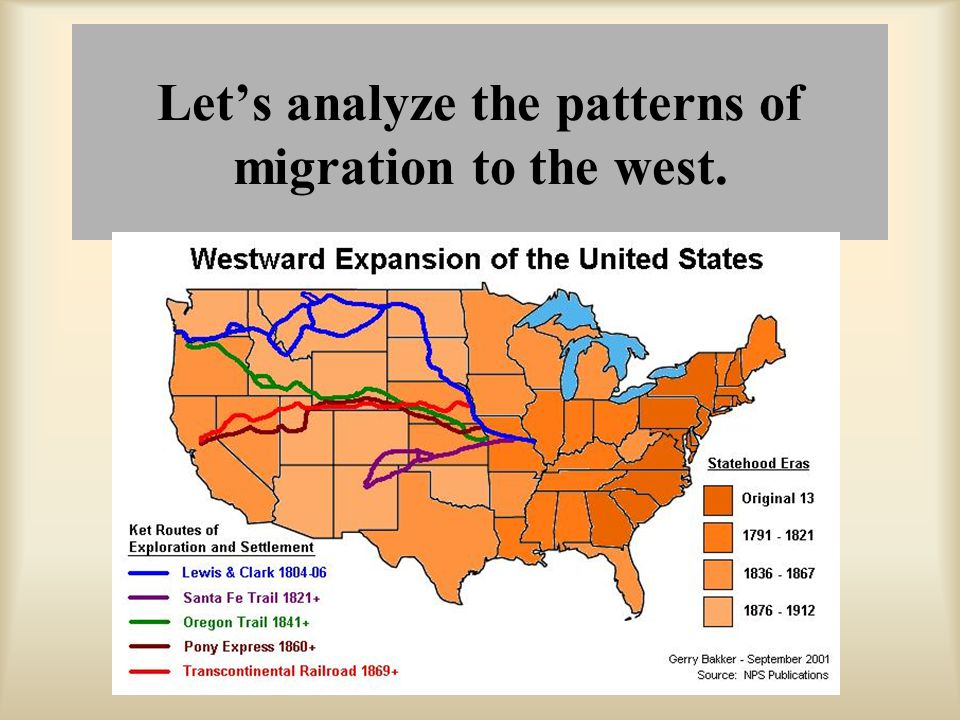 Let's analyze the patterns of migration to the west.
