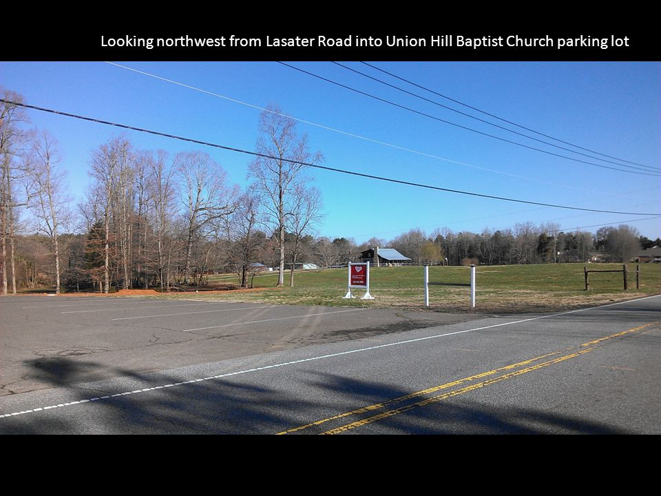 Looking northwest from Lasater Road into Union Hill Baptist Church parking lot