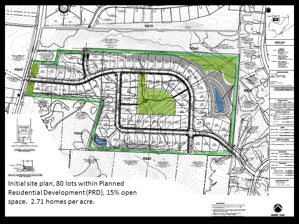 Initial site plan, 80 lots within Planned Residential Development (PRD), 15% open space. 2.71 homes per acre. ;;;;;;;;;;;;;