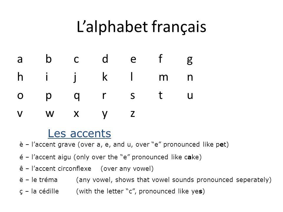 """L'alphabet français abcdefghijklmnopqrstuvwxyzabcdefghijklmnopqrstuvwxyz Les accents è – l'accent grave (over a, e, and u, over """"e"""" pronounced like pe"""
