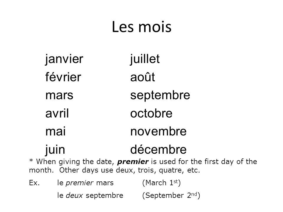 Les mois janvierjuillet févrieraoût marsseptembre avriloctobre mainovembre juindécembre * When giving the date, premier is used for the first day of t