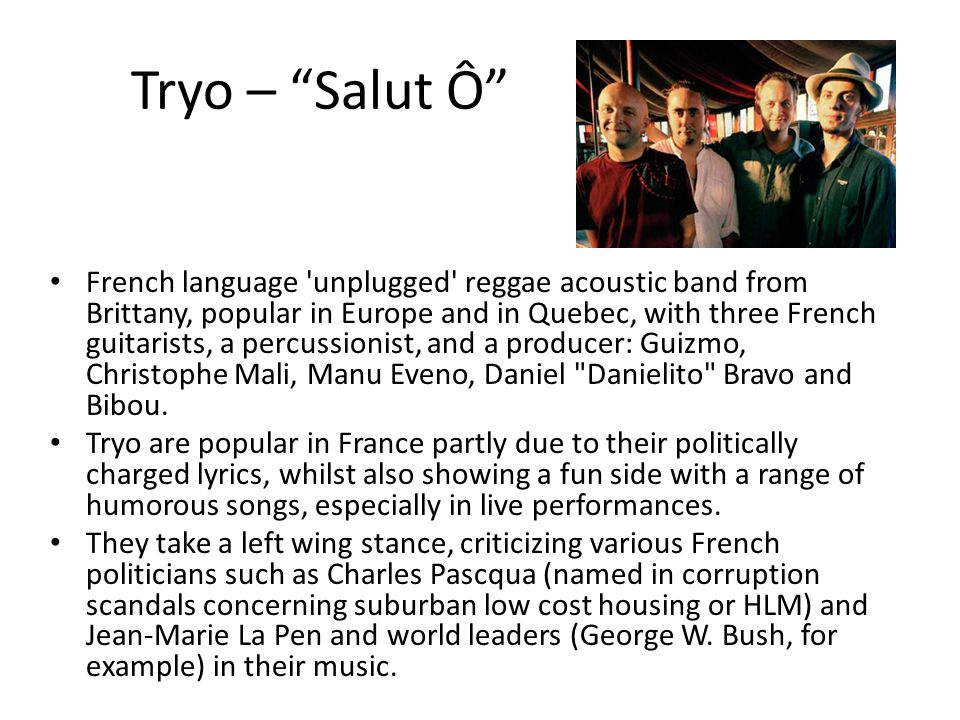 """Tryo – """"Salut Ô"""" French language 'unplugged' reggae acoustic band from Brittany, popular in Europe and in Quebec, with three French guitarists, a perc"""