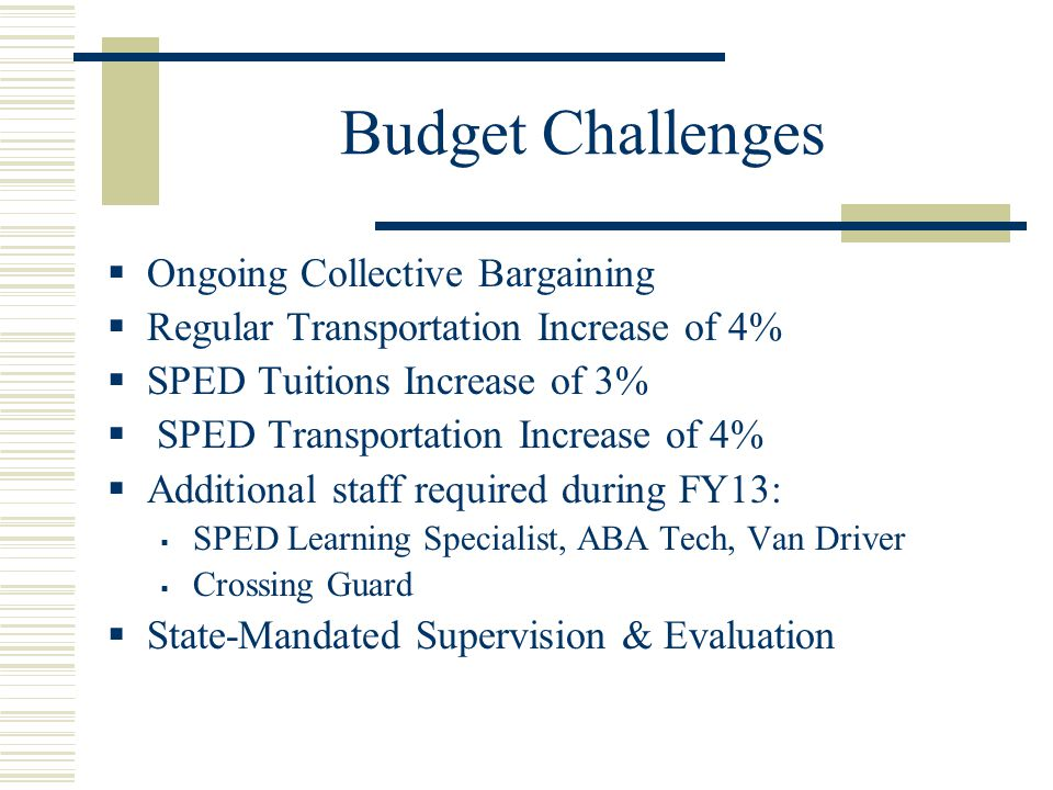 Budget Challenges  Ongoing Collective Bargaining  Regular Transportation Increase of 4%  SPED Tuitions Increase of 3%  SPED Transportation Increase of 4%  Additional staff required during FY13:  SPED Learning Specialist, ABA Tech, Van Driver  Crossing Guard  State-Mandated Supervision & Evaluation