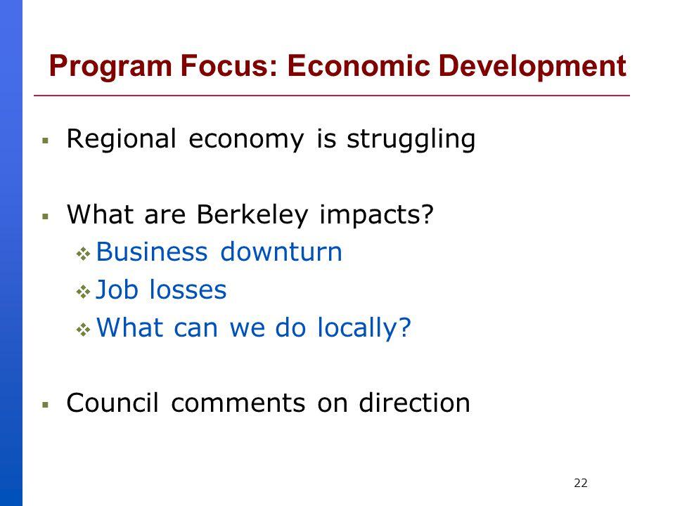 22 Program Focus: Economic Development  Regional economy is struggling  What are Berkeley impacts.