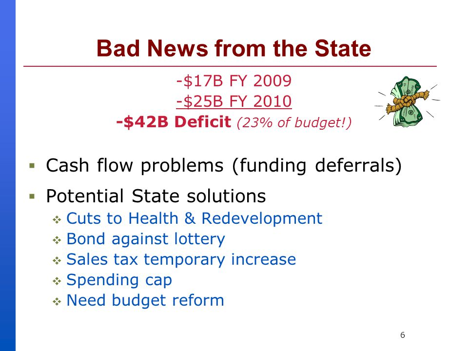6 Bad News from the State -$17B FY 2009 -$25B FY 2010 -$42B Deficit (23% of budget!)  Cash flow problems (funding deferrals)  Potential State solutions  Cuts to Health & Redevelopment  Bond against lottery  Sales tax temporary increase  Spending cap  Need budget reform