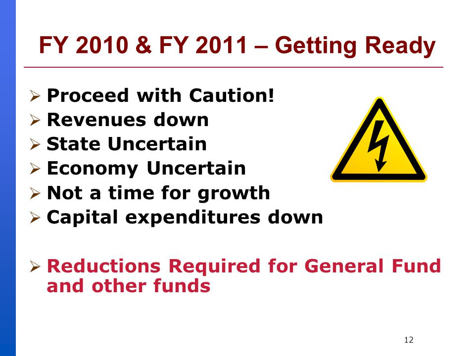 12 FY 2010 & FY 2011 – Getting Ready  Proceed with Caution.