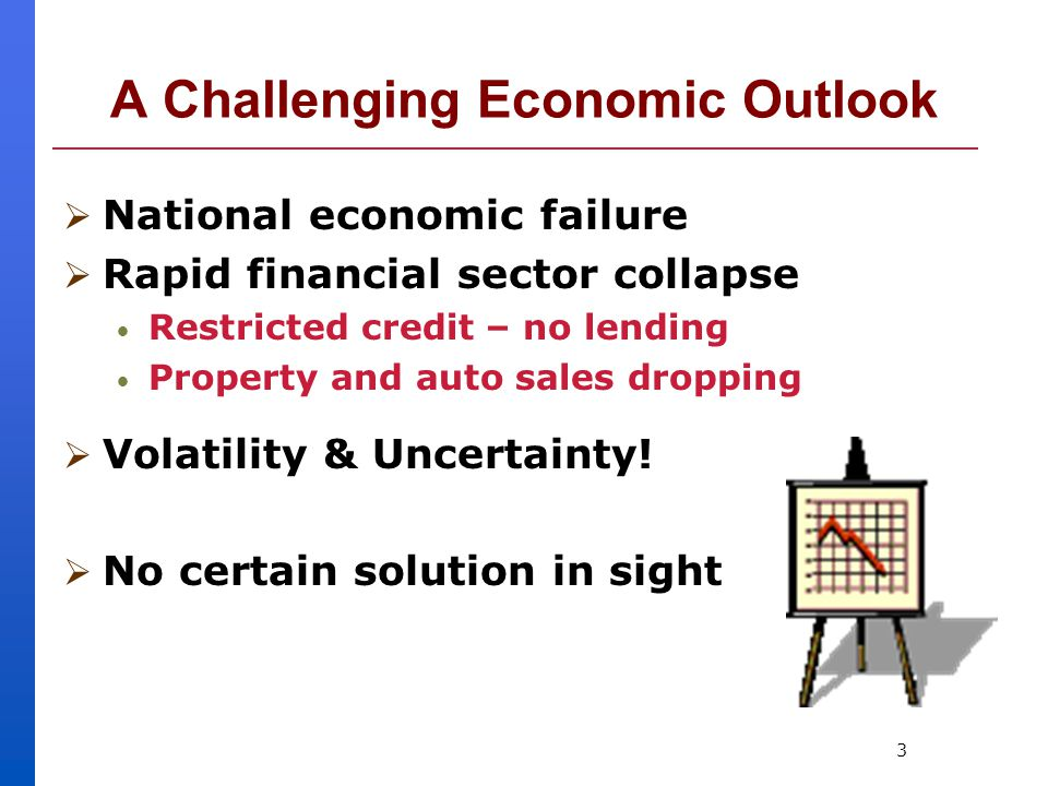 3 A Challenging Economic Outlook  National economic failure  Rapid financial sector collapse Restricted credit – no lending Property and auto sales dropping  Volatility & Uncertainty.