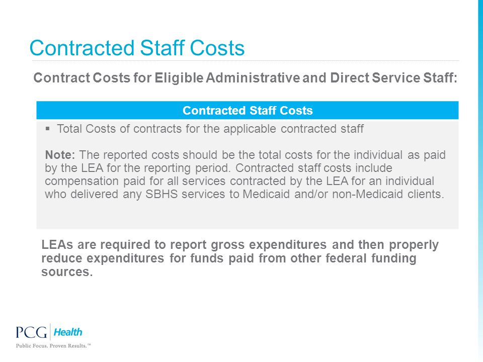 Contract Costs for Eligible Administrative and Direct Service Staff: Contracted Staff Costs  Total Costs of contracts for the applicable contracted s