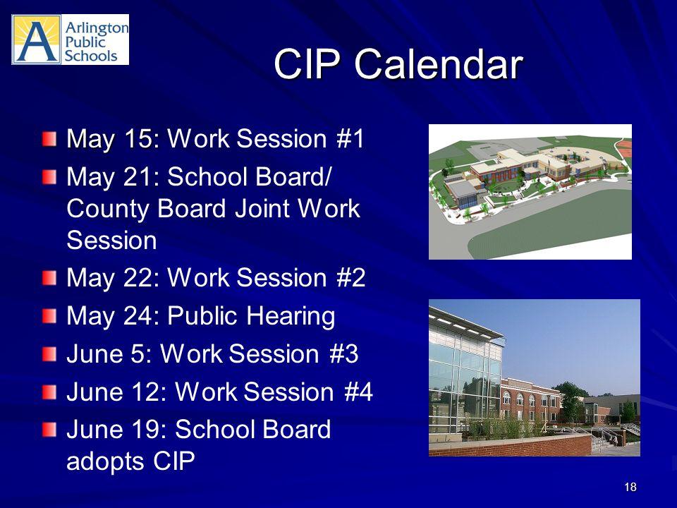 CIP Calendar May 15: May 15: Work Session #1 May 21: School Board/ County Board Joint Work Session May 22: Work Session #2 May 24: Public Hearing June 5: Work Session #3 June 12: Work Session #4 June 19: School Board adopts CIP 18