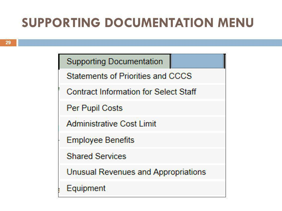 SUPPORTING DOCUMENTATION MENU 29