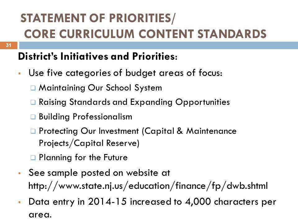 STATEMENT OF PRIORITIES/ CORE CURRICULUM CONTENT STANDARDS District's Initiatives and Priorities:  Use five categories of budget areas of focus:  Maintaining Our School System  Raising Standards and Expanding Opportunities  Building Professionalism  Protecting Our Investment (Capital & Maintenance Projects/Capital Reserve)  Planning for the Future  See sample posted on website at http://www.state.nj.us/education/finance/fp/dwb.shtml  Data entry in 2014-15 increased to 4,000 characters per area.