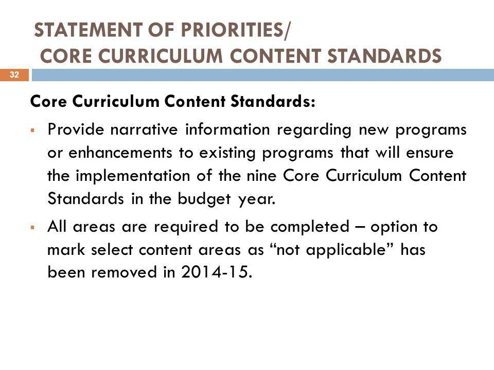 STATEMENT OF PRIORITIES/ CORE CURRICULUM CONTENT STANDARDS Core Curriculum Content Standards:  Provide narrative information regarding new programs o