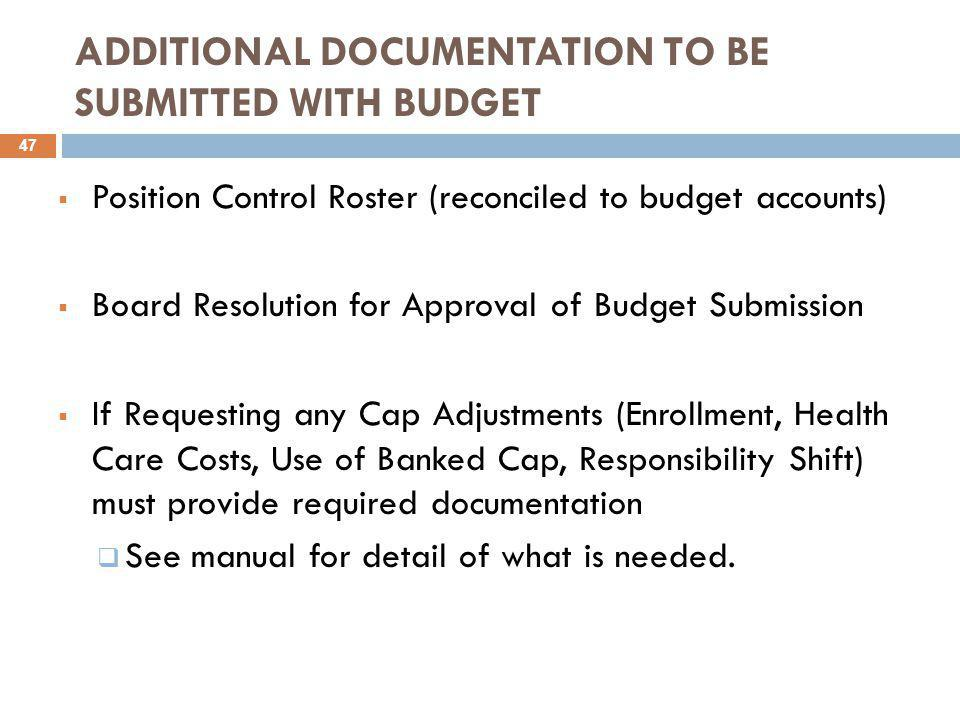 ADDITIONAL DOCUMENTATION TO BE SUBMITTED WITH BUDGET  Position Control Roster (reconciled to budget accounts)  Board Resolution for Approval of Budget Submission  If Requesting any Cap Adjustments (Enrollment, Health Care Costs, Use of Banked Cap, Responsibility Shift) must provide required documentation  See manual for detail of what is needed.