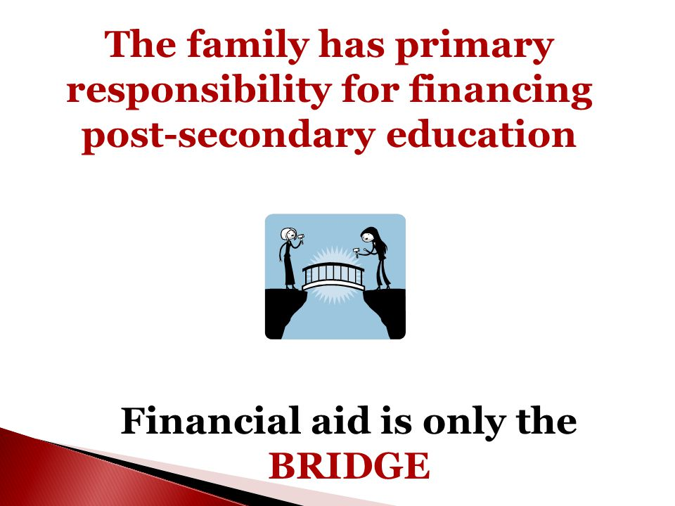 The family has primary responsibility for financing post-secondary education Financial aid is only the BRIDGE