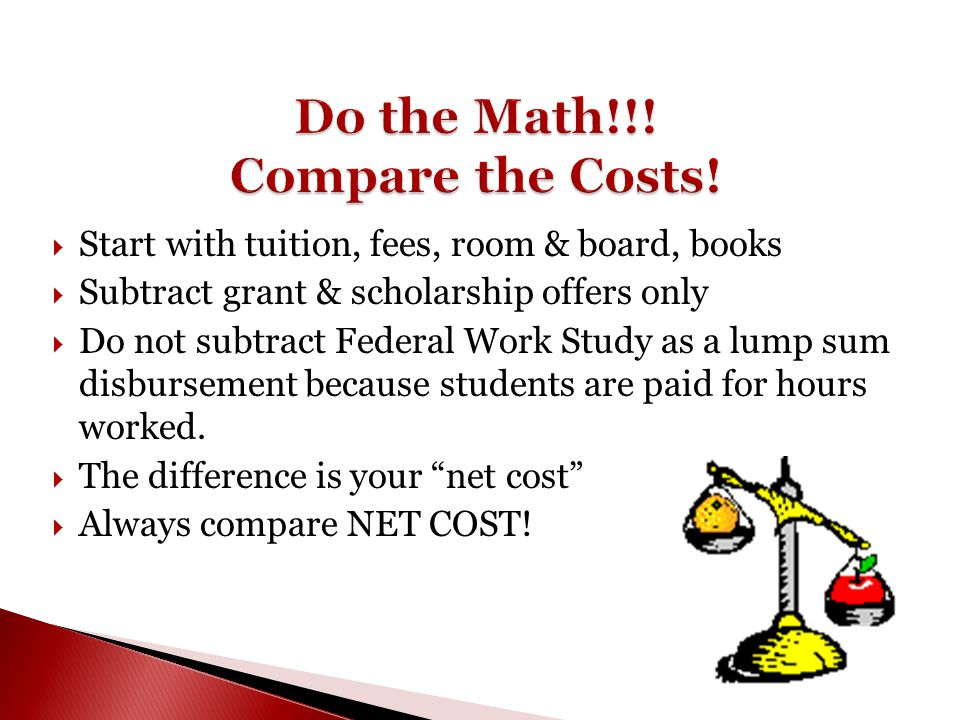  Start with tuition, fees, room & board, books  Subtract grant & scholarship offers only  Do not subtract Federal Work Study as a lump sum disburse