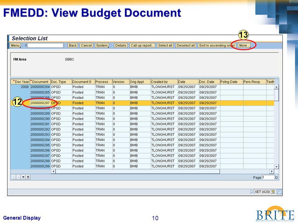 10 General Display FMEDD: View Budget Document 12 13