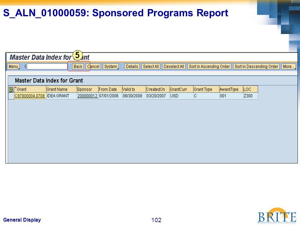 102 General Display 5 S_ALN_01000059: Sponsored Programs Report
