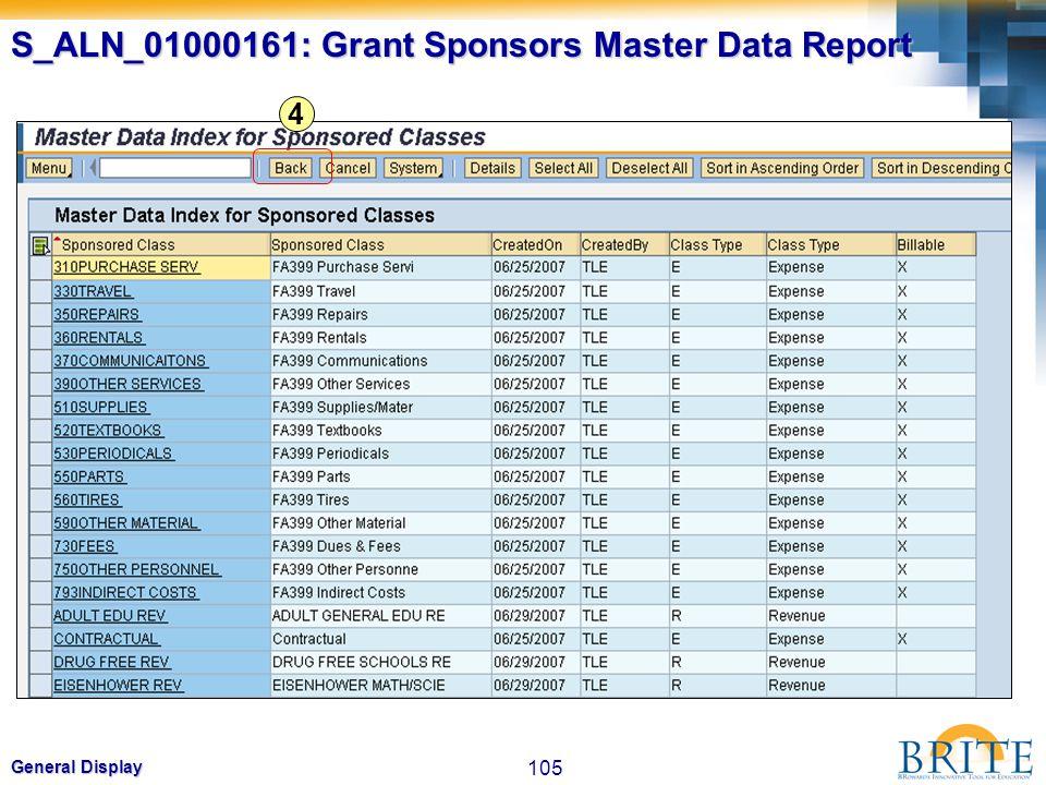 105 General Display 4 S_ALN_01000161: Grant Sponsors Master Data Report