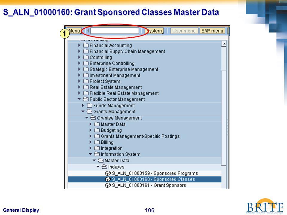 106 General Display S_ALN_01000160: Grant Sponsored Classes Master Data 1