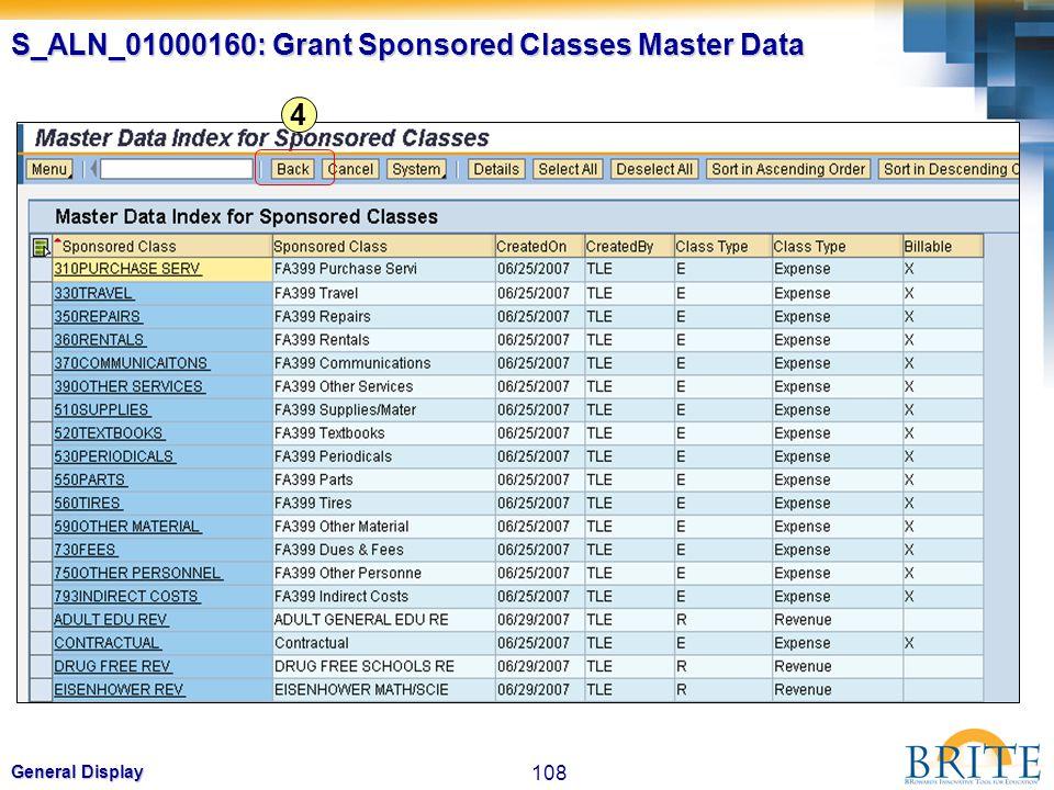 108 General Display 4 S_ALN_01000160: Grant Sponsored Classes Master Data