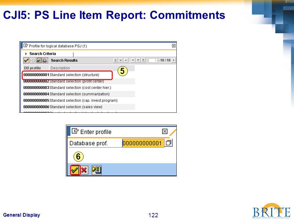 122 General Display 5 6 CJI5: PS Line Item Report: Commitments