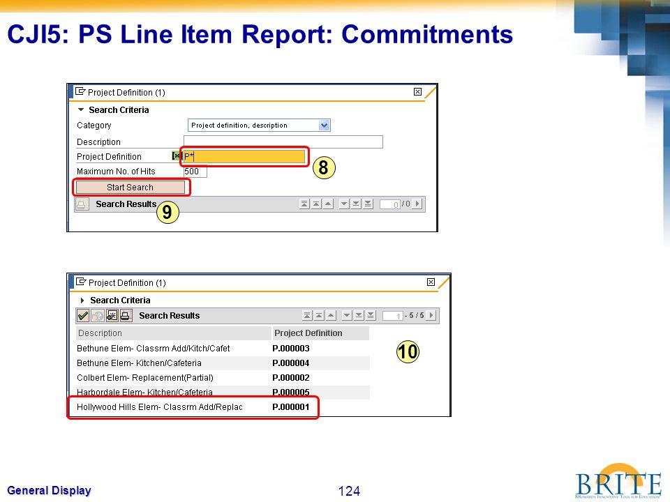 124 General Display 8 9 10 CJI5: PS Line Item Report: Commitments