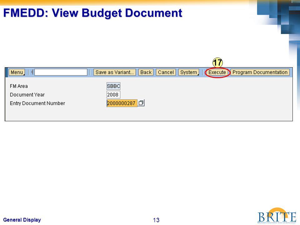 13 General Display FMEDD: View Budget Document 17