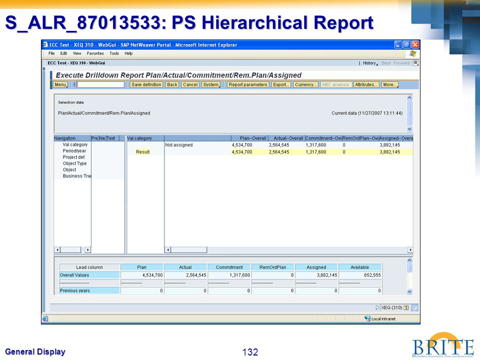 132 General Display S_ALR_87013533: PS Hierarchical Report