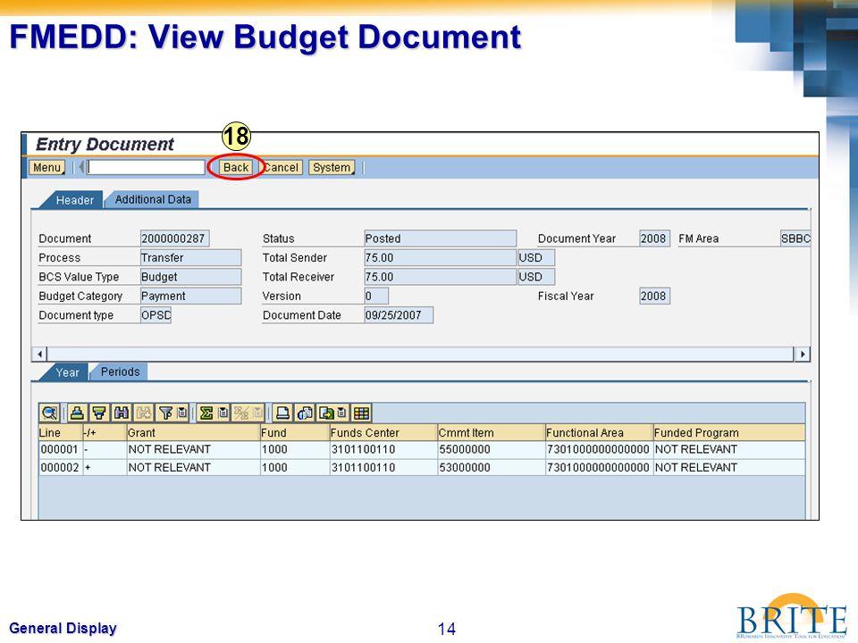 14 General Display FMEDD: View Budget Document 18