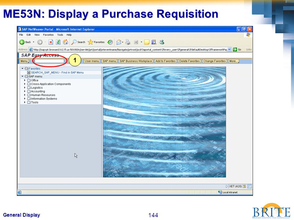 144 General Display ME53N: Display a Purchase Requisition 1
