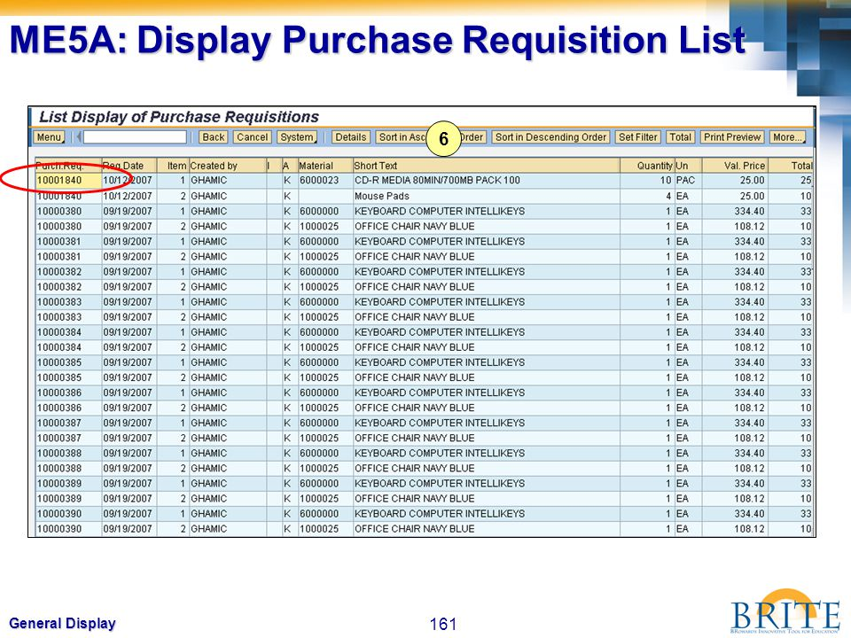 161 General Display 6 ME5A: Display Purchase Requisition List