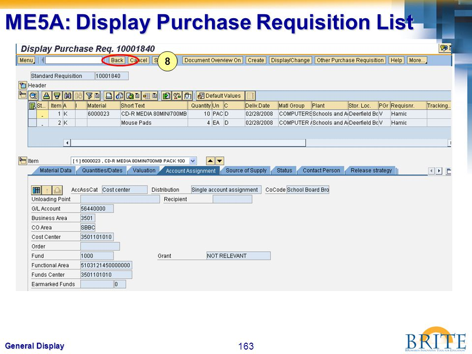 163 General Display 8 ME5A: Display Purchase Requisition List