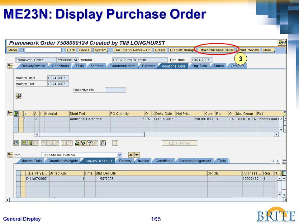 165 General Display 3 ME23N: Display Purchase Order