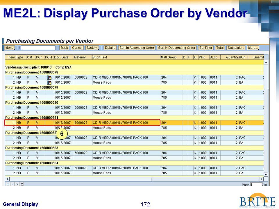 172 General Display 6 ME2L: Display Purchase Order by Vendor