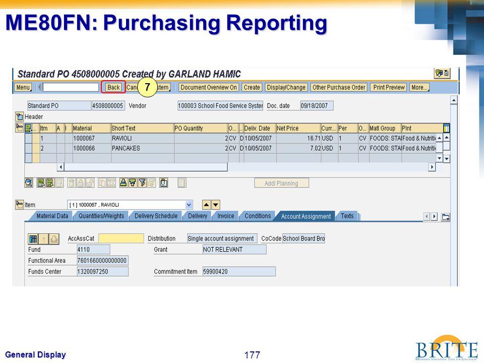 177 General Display 7 ME80FN: Purchasing Reporting