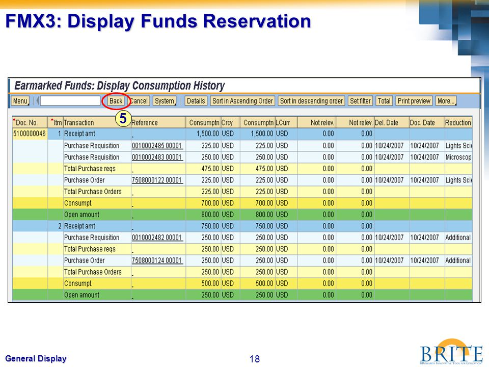 18 General Display FMX3: Display Funds Reservation 5