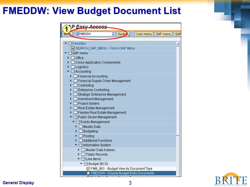 3 General Display FMEDDW: View Budget Document List 1